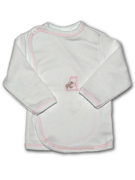 Kojenecká košilka s vyšívaným obrázkem New Baby růžová Mimimanie.cz