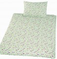Povlečení bavlna do postýlky - Méďa krmítko zelená